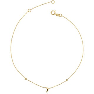Fremada Italian 14k Yellow Gold Crescent Moon Adjustable Length Anklet