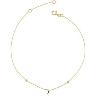 Fremada Italian 14k Yellow Gold Crescent Moon Adjustable Length Anklet