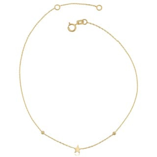 Fremada Italian 14k Yellow Gold Star Adjustable Length Anklet