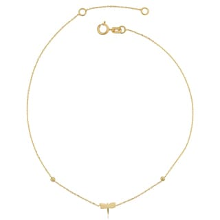Fremada Italian 14k Yellow Gold Dragonfly Adjustable Length Anklet