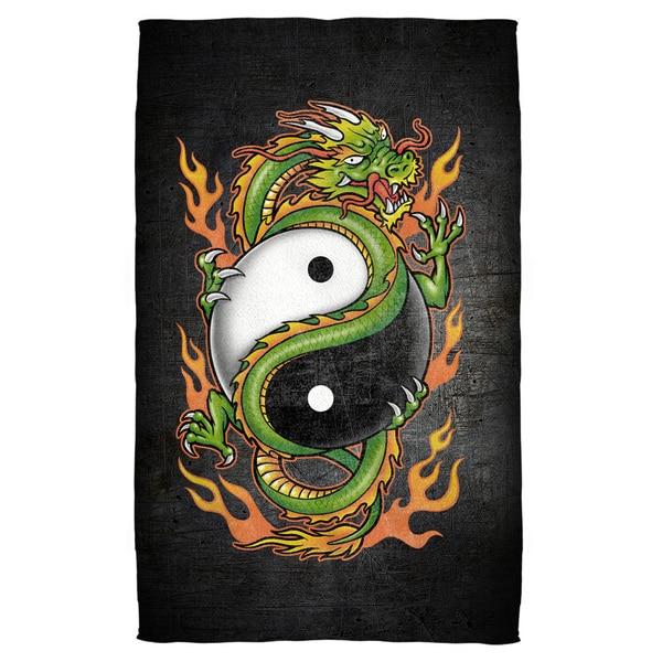 Yin Yang Dragon Polyester Beach Towel