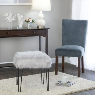 HomePop Faux Fur Gray Square Stool Metal Hairpin Legs|https://ak1.ostkcdn.com/images/products/12263319/P19103667.jpg?impolicy=medium