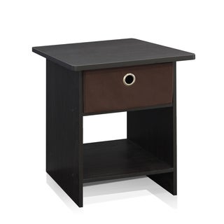 Furinno 10004EX/BR End Table/ Night Stand with Bin Drawer, Espresso/Brown