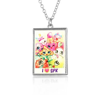 Shopkins Chidren's 'I HEART SK' 18 inches (16 inches with 2-inch extension) Character Group Shot Rectangle Pendant
