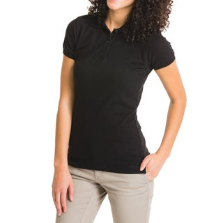 Lee Juniors Black Cotton Short-sleeve Pique Polo