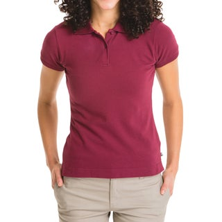 Lee Juniors Women's Burgundy Cotton Short-sleeve Pique Polo