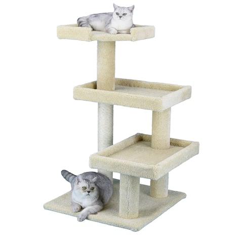 Go Pet Club Wood/Sisal Rope/Carpet 41-inches High Premium Cat Tree - Beige