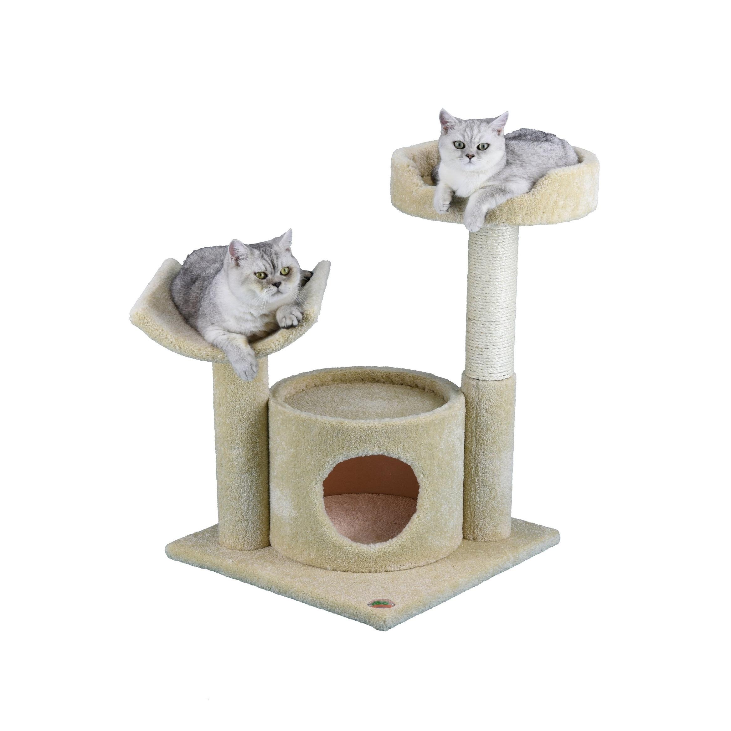Go Pet Club 32 Inch Tall Premium Cat Tree Beige Overstock 12263355