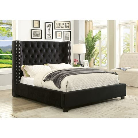 Carabella Contemporary Wingback Low Profile Bed by FOA