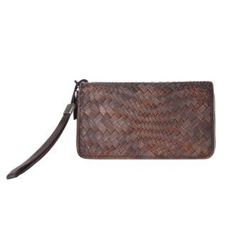 Diophy Large Genuine Leather Woven Distressed Vintage Wallet (Option: Grey)