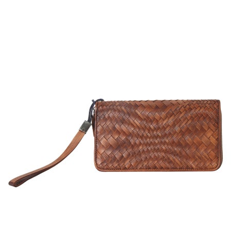 Diophy Large Genuine Leather Woven Distressed Vintage Wallet