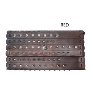 Diophy Mixed-color Genuine Leather Snap-closure Distressed Studded Wallet