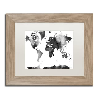 Marlene Watson 'World Map BG-1' Matted Framed Art