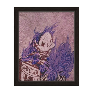 'Chill Dude in Violet' Canvas Black Finish Framed Graphic Wall Art