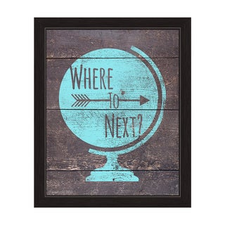 'Where to Next - Blue' Framed Graphic Wall Art