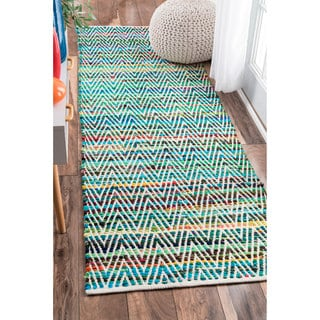 nuLOOM Handmade Flatweave Stiped Chevron Cotton Green Runner Rug (2'6 x 8')
