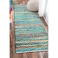 nuLOOM Handmade Flatweave Stiped Chevron Cotton Green Runner Rug (2'6 x 8')