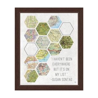 'Hexagon Maps On My List' Framed Graphic Wall Art