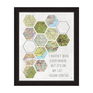 'Hexagon Maps On My List' Framed Graphic Wall Art