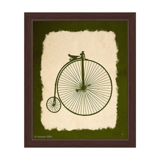 'Penny Farthing on Parchment Olive' Framed Graphic Wall Art