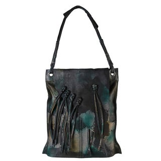 Diophy Fringe Large Genuine Leather Hobo Shopping Tote Handbag