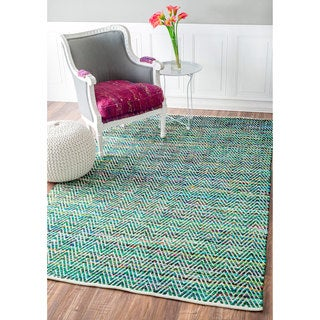 nuLOOM Handmade Flatweave Stiped Chevron Cotton Green Rug (3' x 5')