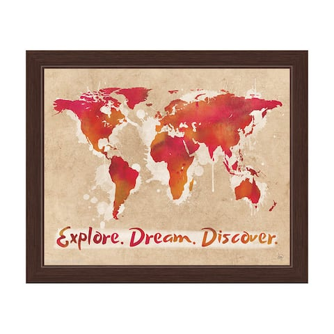 'Explore, Dream, Discover the World' Red Framed Graphic Wall Art