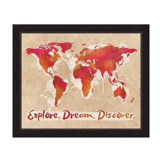 'Explore Dream Discover The World Red' Framed Graphic Wall Art