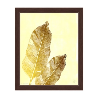 'Gold Tropical Leaves on Daffodil' Framed Graphic Wall Art