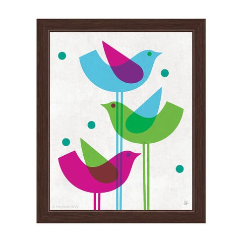 Retro Blue Green and Purple Stacked Birds' Framed Graphic Wall Art