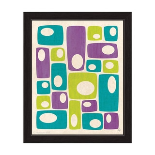 'Retro Bizarre Teal, Green, and Purple Stacks' Framed Graphic Wall Art