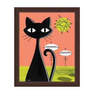 'Space Colony Cat' Retro Red and Yellow Framed Graphic Wall Art