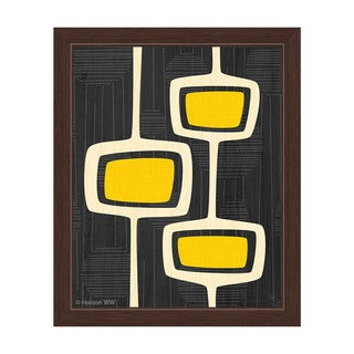 'Retro Yellow Bubble Towers' Framed Graphic Wall Art