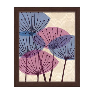 'Retro Purple And Blue Water Fronds' Framed Canvas Graphic Wall Art