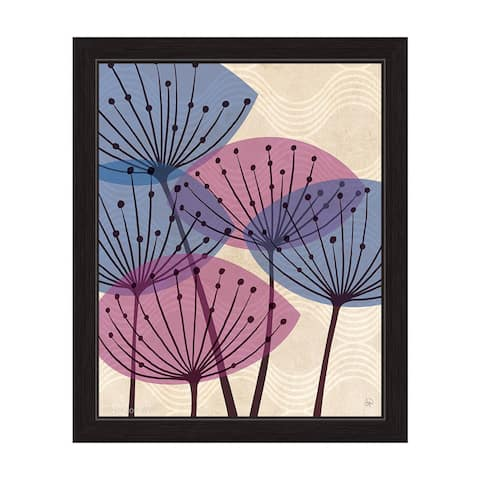 'Retro Purple and Blue Water Fronds' Framed Graphic Wall Art