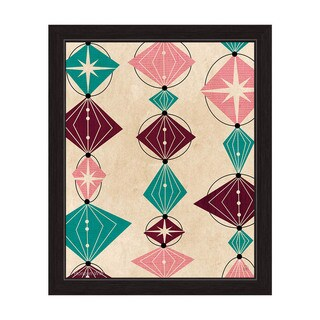 'Retro Teal And Pink Bead String' Framed Graphic Wall Art (More options available)