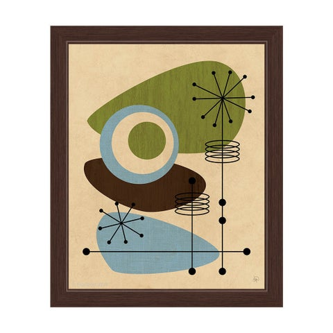 'Retro Green And Blue All-seeing Eye' Framed Canvas Graphic Wall Art
