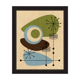 'Retro Green And Blue All Seeing Eye' Canvas Black Finish Framed Graphic Wall Art