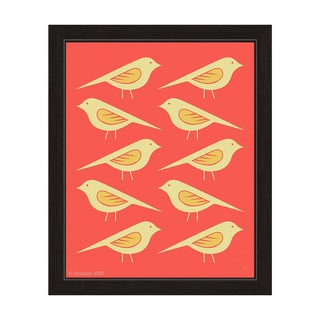 'Retro Birds Vermillion' Framed Graphic Wall Art