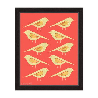 'Retro Birds Vermillion' Framed Graphic Wall Art (More options available)
