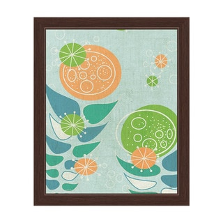 'Retro Mid Century Orange and Green Flowers' Framed Graphic Wall Art