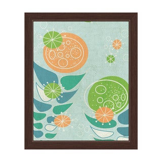 'Retro Mid Century Orange and Green Flowers' Framed Graphic Wall Art (More options available)
