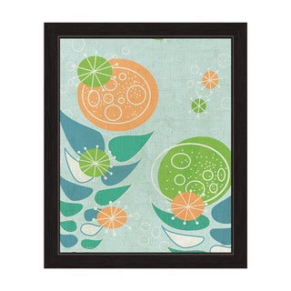 'Retro Mid Century Orange And Green Flowers' Canvas Framed Graphic Wall Art