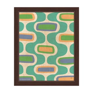 'Retro Teal Curves' Framed Graphic Wall Art