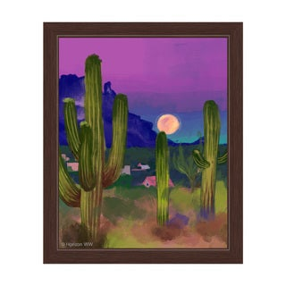 'Rising Moon in the Desert' Framed Graphic Wall Art