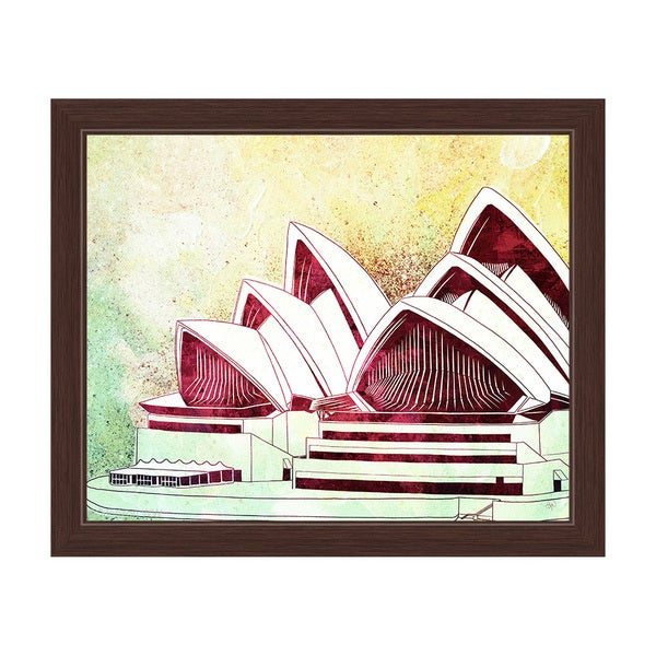 'Sydney Opera House Green' Framed Graphic Wall Art