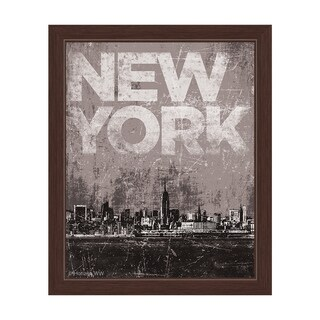 'Distressed Skyline NYC' Framed Graphic Wall Art