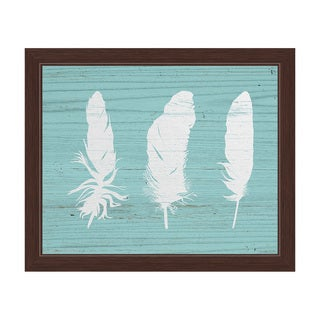 'White Feathers on Wood Tropical' Framed Graphic Wall Art