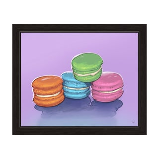 'Four Macaroons on Lilac' Framed Graphic Wall Art
