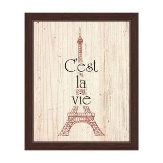'Rouge Eiffel Tower - Cest La Vie' Framed Canvas Graphic Wall Art